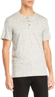 Ike Behar Grey Space-Dye Jersey Henley