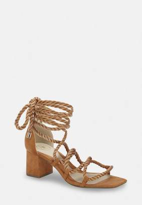 Missguided Tan Rope Lace Up Mid Heeled Sandals