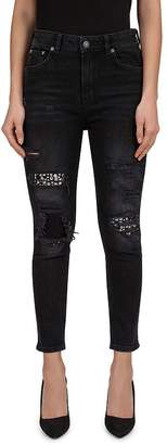 The Kooples Distressed & Studded Jeans in Black Wash