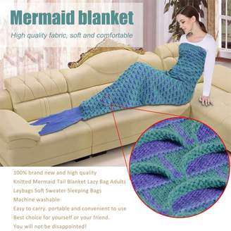 DOWL 2 Colors Lovely Wool Materials Knitted Mermaid Tail Blanket Lazy Bag SY017