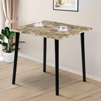 GranRest Square Dining Table with Faux Marble Top, Crema Cappuccino