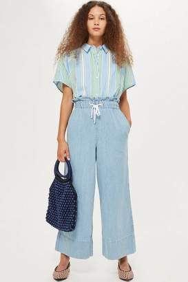 Topshop Bleach Draw Tie Cropped Jeans