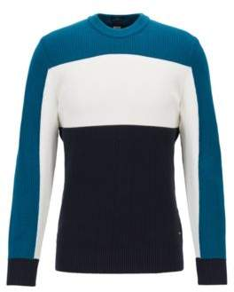 BOSS Hugo Slim-fit color-block sweater in mixed structures M Open Blue