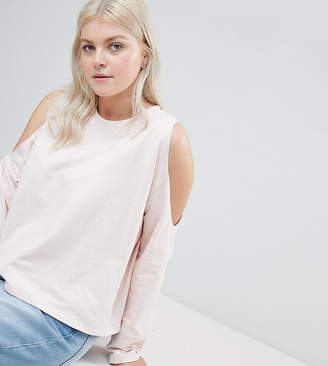 Asos DESIGN Curve sweatshirt with cold shoulder