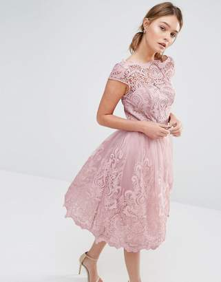 Chi Chi London Premium Lace Midi Prom Dress with Bardot Neck $109 thestylecure.com