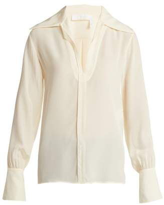Chloé Wide Collar Silk Blouse - Womens - Ivory