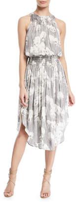 Halston Sleeveless Printed Ruched Midi Dress
