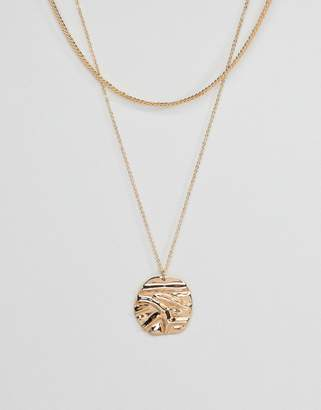 Asos DESIGN Folded Metal Disc Multirow Necklace