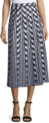 Lafayette 148 New York Adalia Belmont Check Shirting Midi Skirt