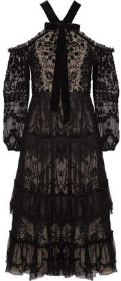 Needle & Thread - Primrose Cold-shoulder Embroidered Tulle Midi Dress - Black $485 thestylecure.com