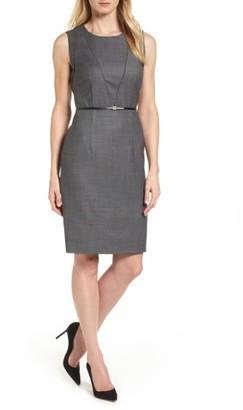 Women's Boss Delasana Belted Wool Sheath Dress $575 thestylecure.com