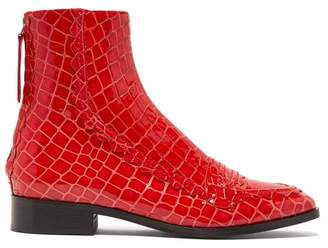 ALEXACHUNG Tour Crocodile Effect Leather Boots - Womens - Red