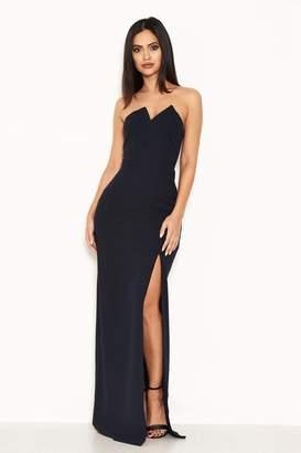 AX Paris Womens Notch Front Maxi Dress - Blue