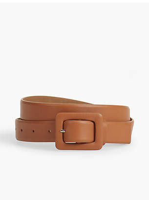 Talbots Plus Size Exclusive Leather Covered-Buckle Belt