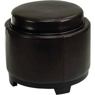 Safavieh Round Beechwood Bicast Leather Upholstered Storage Tray Ottoman, Multiple Colors