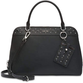 Calvin Klein Susan Saffiano Leather Studded Satchel