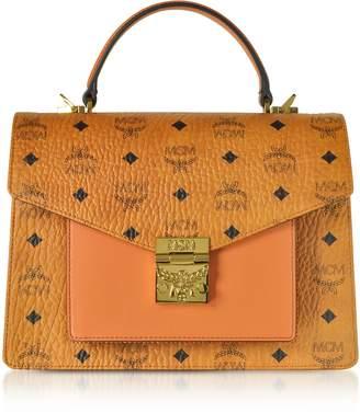 MCM Cognac Patricia Visetos Medium Satchel Bag