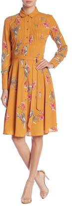 Nanette Lepore NANETTE Floral Pintuck Pleated Shirt Dress
