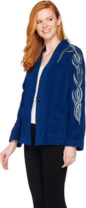 Bob Mackie Bob Mackie's Embroidered Dolman Sleeve Fleece Jacket