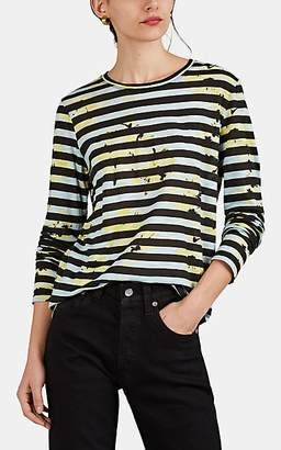 Proenza Schouler Women's Splattered-Floral & Striped Cotton T-Shirt - Blue Pat.