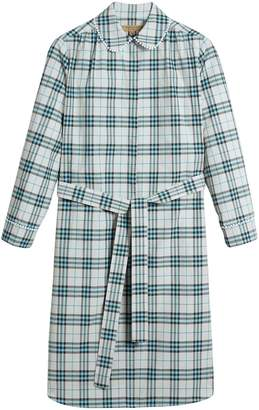Burberry lace trim collar check cotton shirt dress
