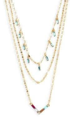 Ava & Aiden Goldtone Multi-Color Glass Stone Three-Strand Layer Necklace