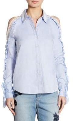 Jonathan Simkhai Ruffled Cold-Shoulder Oxford Shirt