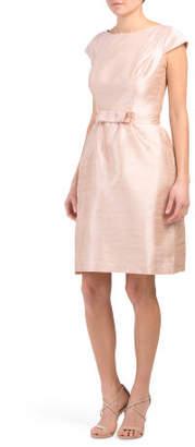 Cap Sleeve Bow Front Dupioni Dress