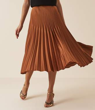 Reiss Our last order date for Christmas has now passed ISIDORA PLEATED MIDI SKIRT BRONZE