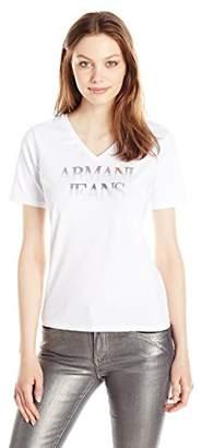 Armani Jeans Women's Jersey V Neck Logo Tee