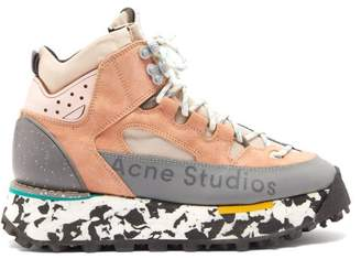 Acne Studios Bertrand Canvas And Suede Hiking Boots - Womens - Pink Multi