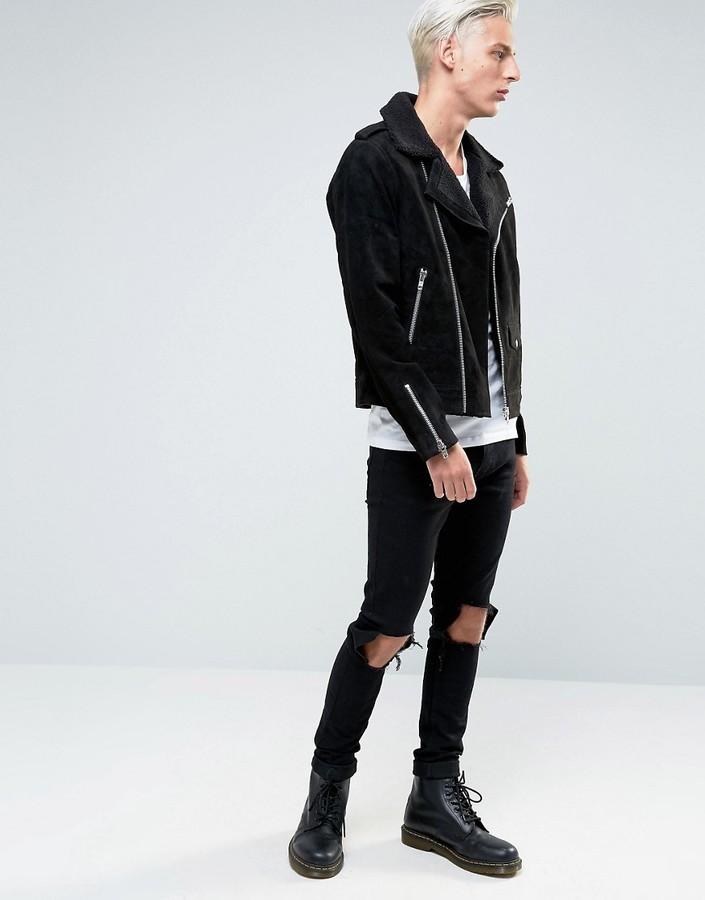 Black Dust Leather Biker Jacket With Fleece Collar 3