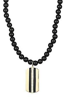 Sydney Evan 14K Yellow Gold Diamond Onyx & Enamel Striped Dog Tag Necklace