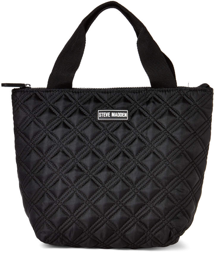 Steve Madden Black Quilted Lunch Tote