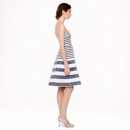 J.Crew Strapless stripe silk dupioni dress