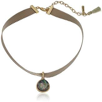 lonna & lilly Tone Abalone Pendant Ribbon Choker Necklace