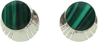 One Kings Lane Vintage Serrated Sterling & Malachite Earrings - Thanks for the Memories