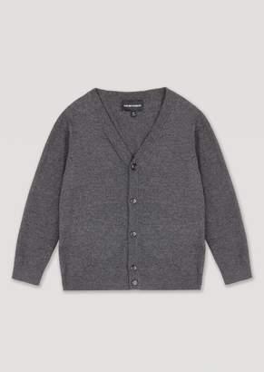Emporio Armani Plain Knit Cotton Blend Cardigan With Buttons