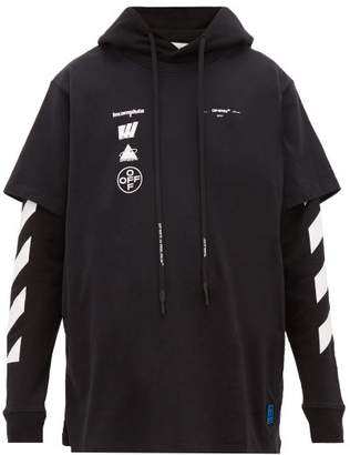 Off-White Off White Double Layer Cotton Hooded Sweatshirt - Mens - Black Multi