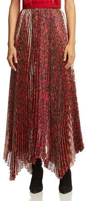 Alice + Olivia Katz Metallic Leopard Print Pleated Maxi Skirt