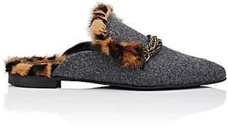 Mr & Mrs Italy Women's Fur-Lined Felt Mules - Gray