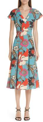 Etro Floral Print Flutter Sleeve Dress