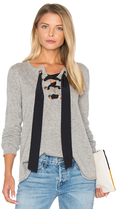 Autumn Cashmere Lace Up Flare Sweater $308 thestylecure.com