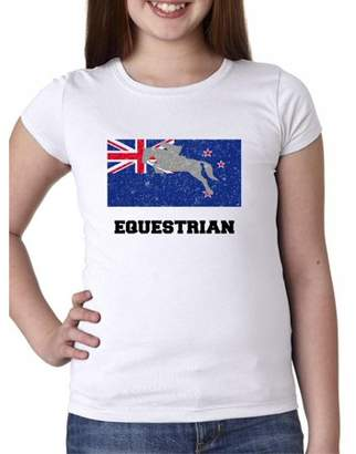 Hollywood Thread New Zealand Olympic - Equestrian - Flag - Silhouette Girl's Cotton Youth T-Shirt