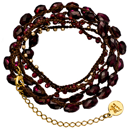 Blee Inara Ruby and Gold Beaded Wrap Bracelet