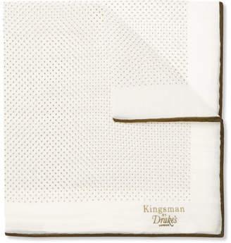 Drakes Kingsman + Drake's Polka-Dot Cotton And Silk-Blend Pocket Square
