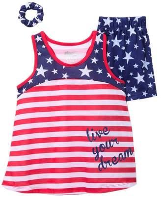 Americana Sleep On It Scrunchie, Tank & Shorts PJ Set (Big Girls)