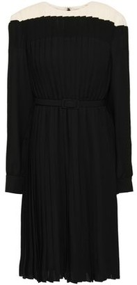 Mikael Aghal Belted Pleated Two-tone Crepe De Chine Dress