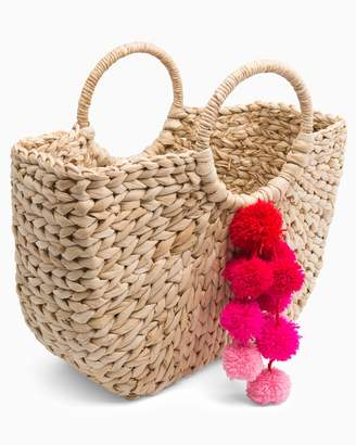 Southern Tide Round Handle Poms Tote