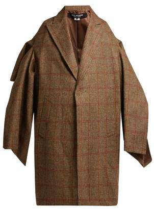 Junya Watanabe Draped Cape Sleeve Checked Wool Coat - Womens - Brown Multi